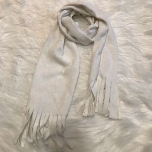 White Fleece Fringe Scarf